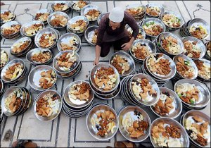 Iftar meal for people at a Mosque