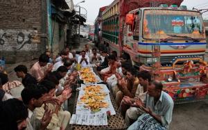Local truck drivers enjoying Iftar in karachi
