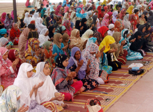 Muslim Women offering first Friday prayers of the Muslims fasting month of Ramadan, at Badshahi Mosque in Lahore